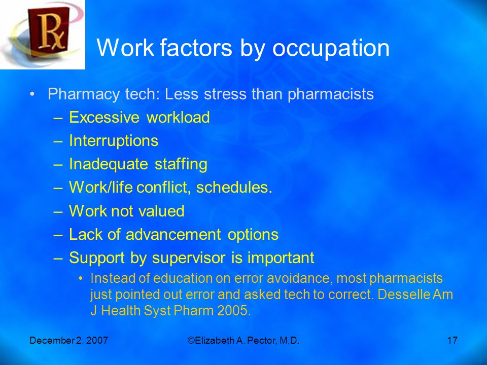 December 2, 2007©Elizabeth A. Pector, M.D.17 Work factors by occupation Pharmacy tech: Less stress than pharmacists –Excessive workload –Interruptions