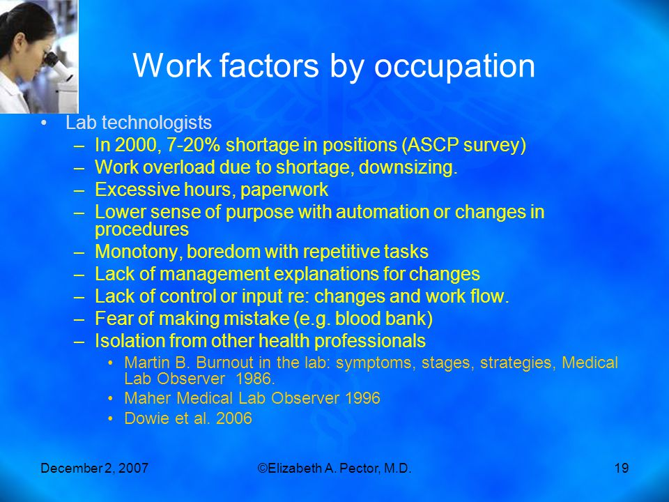 December 2, 2007©Elizabeth A. Pector, M.D.19 Work factors by occupation Lab technologists –In 2000, 7-20% shortage in positions (ASCP survey) –Work ov