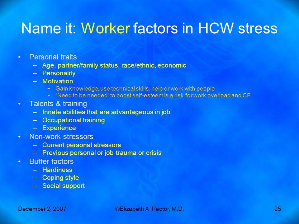 December 2, 2007©Elizabeth A. Pector, M.D.25 Name it: Worker factors in HCW stress Personal traits –Age, partner/family status, race/ethnic, economic