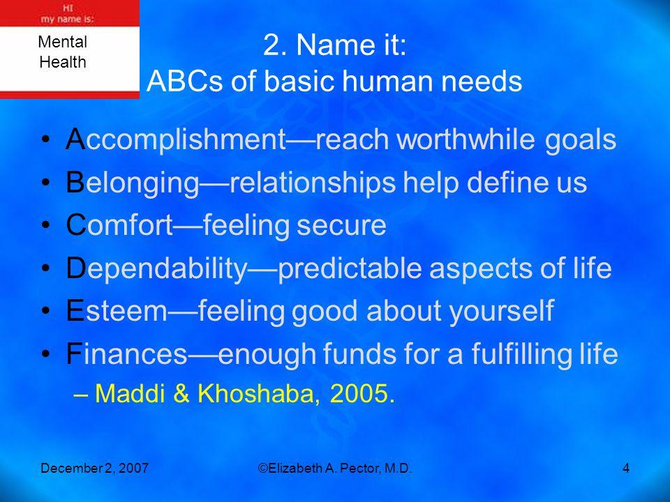 December 2, 2007©Elizabeth A. Pector, M.D.4 2. Name it: ABCs of basic human needs Accomplishment—reach worthwhile goals Belonging—relationships help d