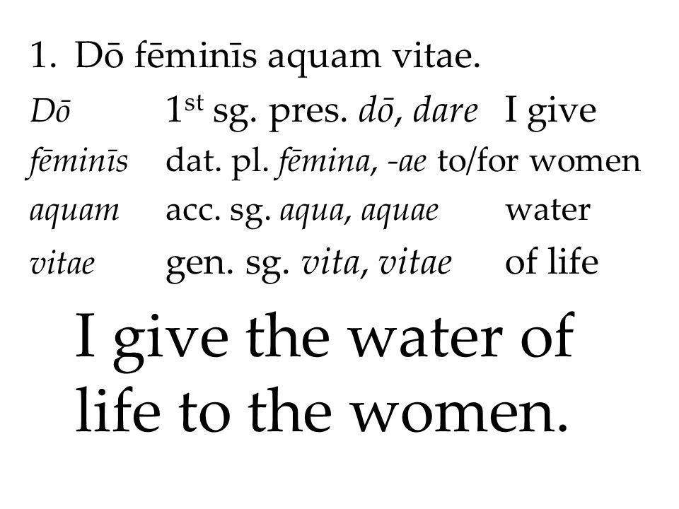 1.Dō fēminīs aquam vitae. Dō 1 st sg. pres. dō, dareI give fēminīsdat.