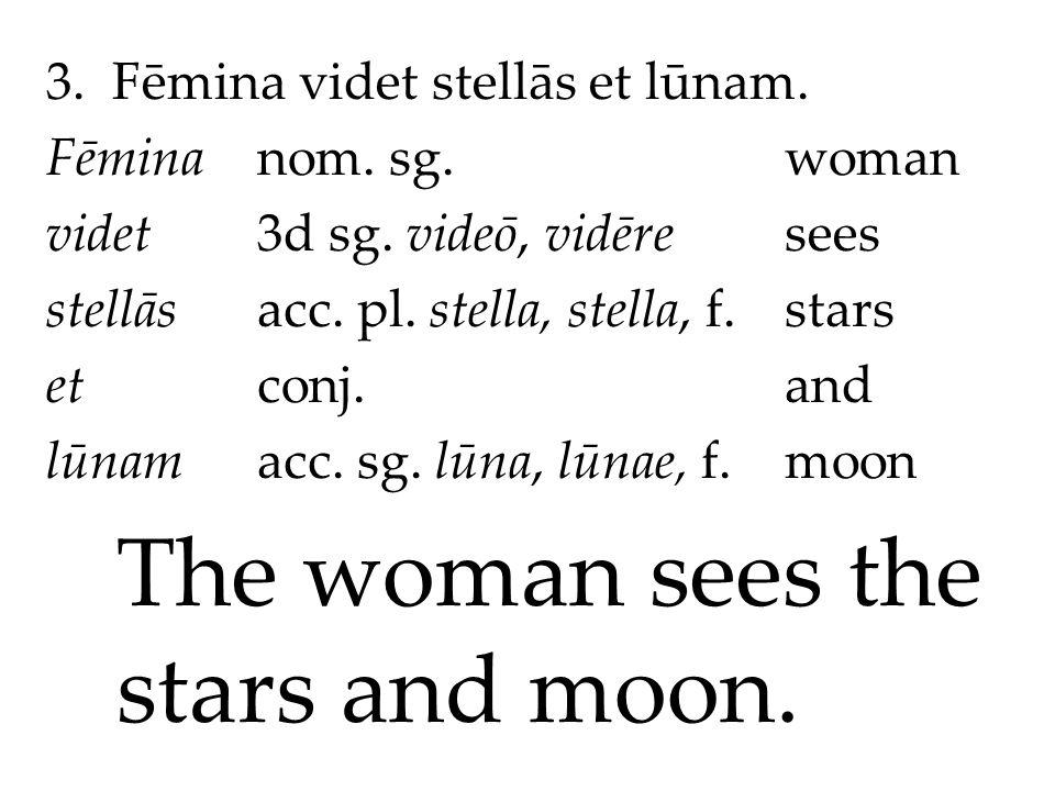 3. Fēmina videt stellās et lūnam. Fēminanom. sg.woman videt3d sg.