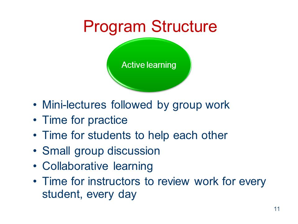 Program Structure Mini-lectures followed by group work Time for practice Time for students to help each other Small group discussion Collaborative learning Time for instructors to review work for every student, every day Active learning 11