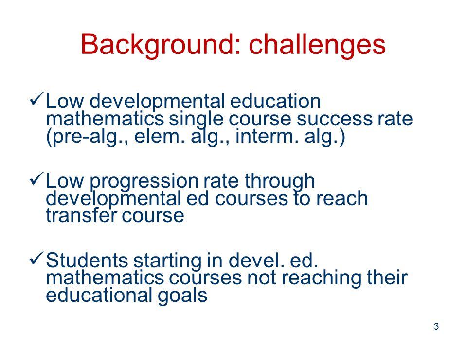 Background: challenges Low developmental education mathematics single course success rate (pre-alg., elem.