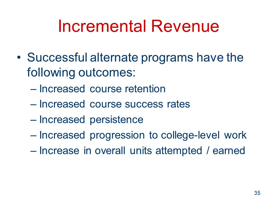 Incremental Revenue Successful alternate programs have the following outcomes: –Increased course retention –Increased course success rates –Increased persistence –Increased progression to college-level work –Increase in overall units attempted / earned 35