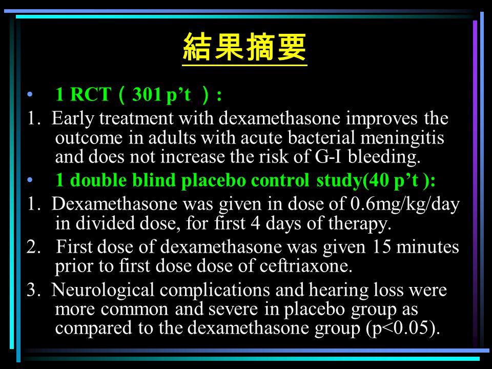 結果摘要 1 RCT ( 301 p't ) : 1. Early treatment with dexamethasone improves the outcome in adults with acute bacterial meningitis and does not increase th