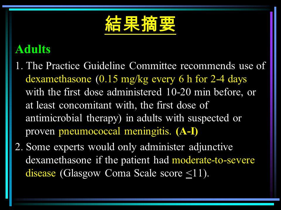 結果摘要 Adults 1. The Practice Guideline Committee recommends use of dexamethasone (0.15 mg/kg every 6 h for 2-4 days with the first dose administered 10