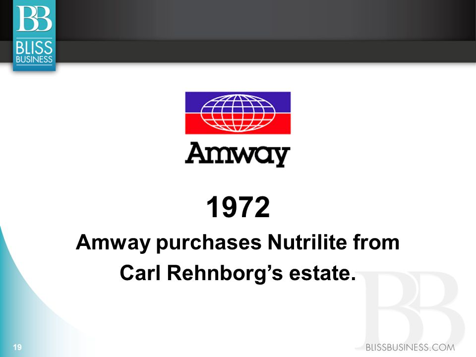 19 1972 Amway purchases Nutrilite from Carl Rehnborg's estate.