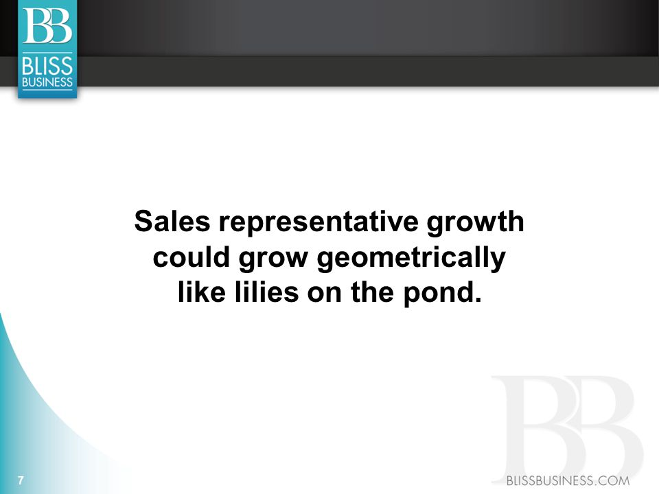 Sales representative growth could grow geometrically like lilies on the pond. 7