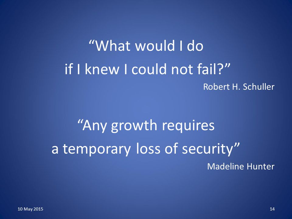 What would I do if I knew I could not fail? Robert H.