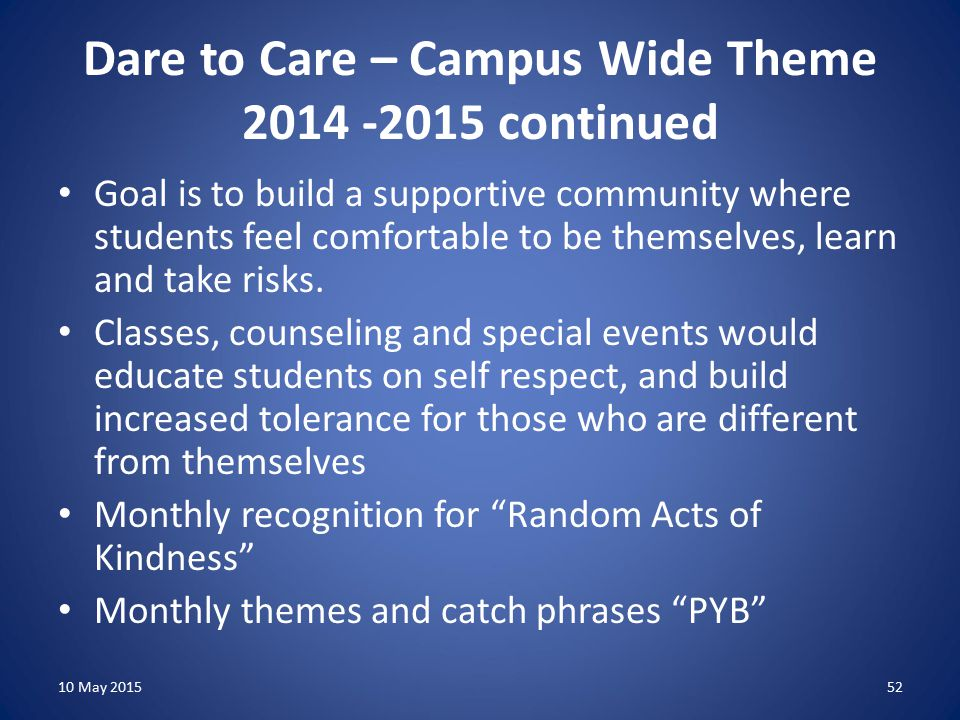 Dare to Care – Campus Wide Theme 2014 -2015 continued Goal is to build a supportive community where students feel comfortable to be themselves, learn and take risks.