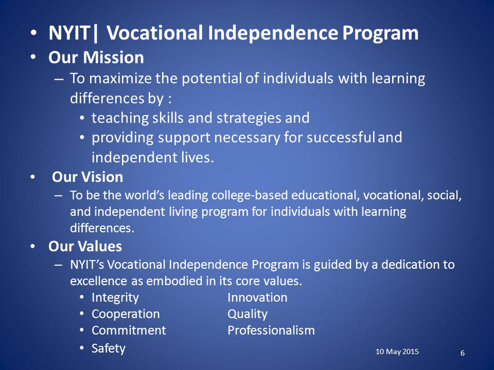 NYIT| Vocational Independence Program Our Mission – To maximize the potential of individuals with learning differences by : teaching skills and strategies and providing support necessary for successful and independent lives.