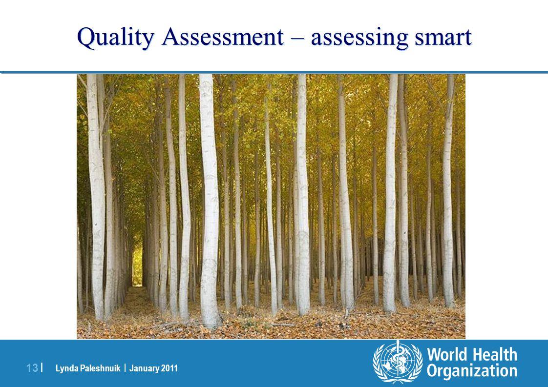 Lynda Paleshnuik | January 2011 13 | Quality Assessment – assessing smart