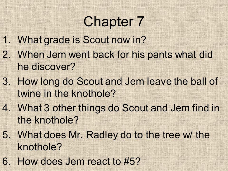 Chapter 7 1.What grade is Scout now in. 2.When Jem went back for his pants what did he discover.