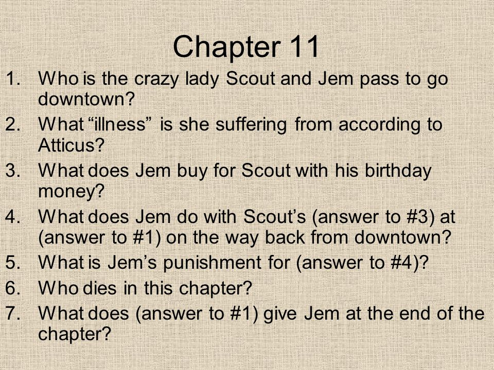 Chapter 11 1.Who is the crazy lady Scout and Jem pass to go downtown.
