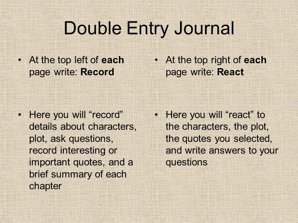 Double Entry Journal At the top left of each page write: Record Here you will record details about characters, plot, ask questions, record interesting or important quotes, and a brief summary of each chapter At the top right of each page write: React Here you will react to the characters, the plot, the quotes you selected, and write answers to your questions