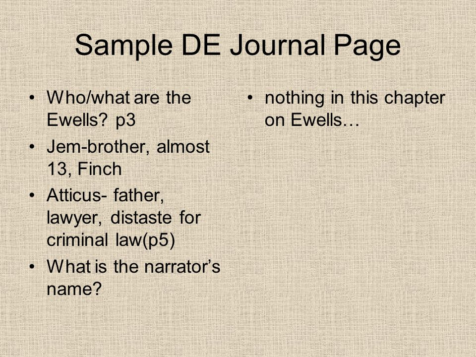 Sample DE Journal Page Who/what are the Ewells.