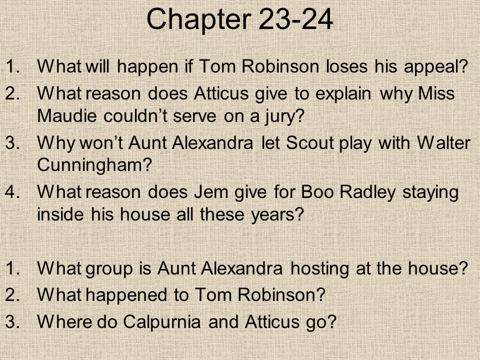 Chapter 23-24 1.What will happen if Tom Robinson loses his appeal.