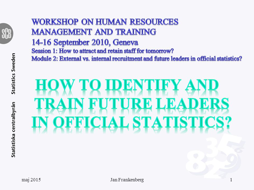 Leadership programme objects Improved leadership at Statistics Sweden Increased self-knowledge Personal development Create a supportive network maj 201512Jan Frankenberg
