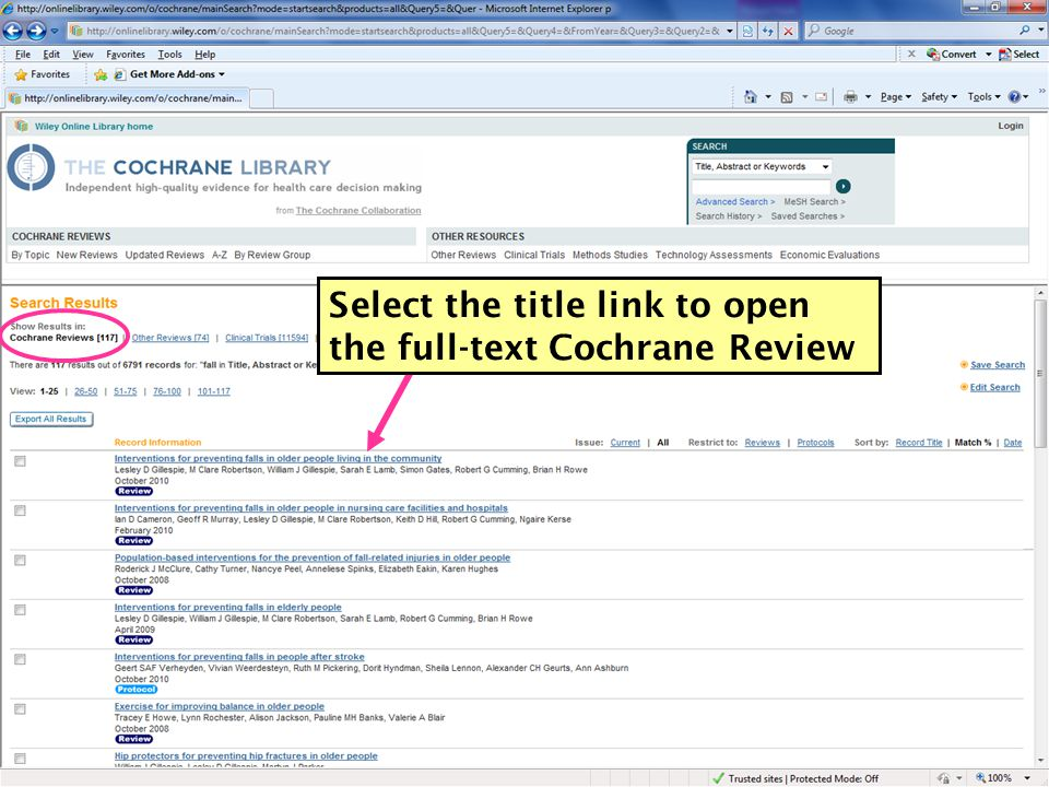 10 Select the title link to open the full-text Cochrane Review