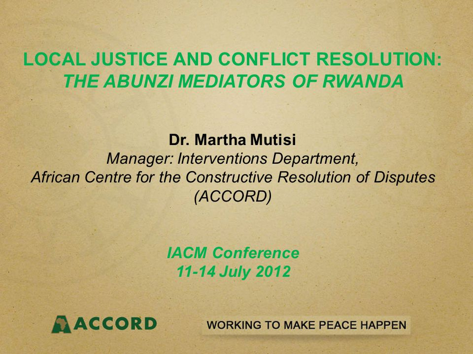 CHALLENGES FACING THE ABUNZI MEDIATION SYSTEM State-centered justice and legalized mediation; Elements of litigation and coercion in abunzi process; Overbearing role of the; Coerced peacebuilding?: References to unity; utterances that do not stress 'oneness' are met with public disapproval; The notion of unity has the danger of negating dissent; Proper Reconciliation?: Concerns that the notion of unity may be an act: Are Rwandans 'pretending peace?