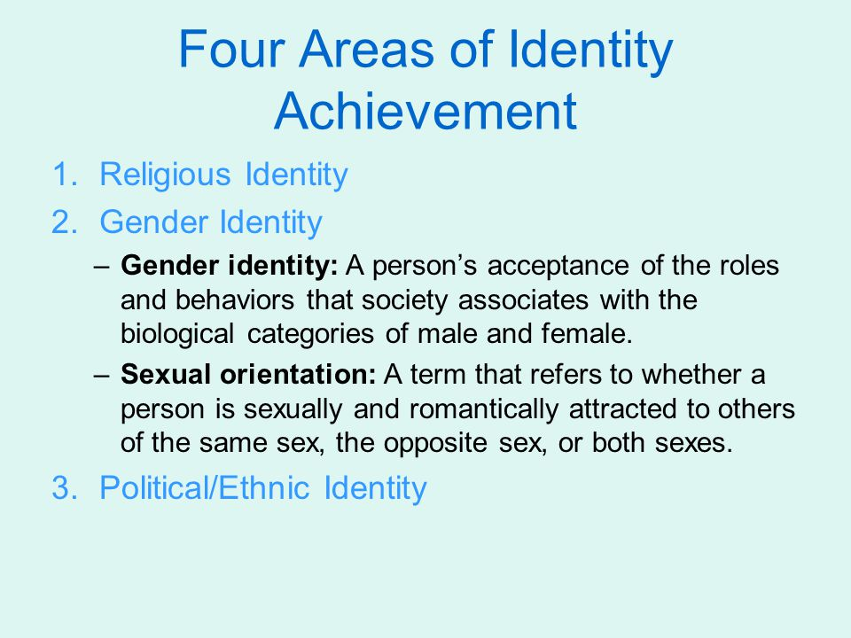 Four Areas of Identity Achievement 1.Religious Identity 2.Gender Identity –Gender identity: A person's acceptance of the roles and behaviors that soci