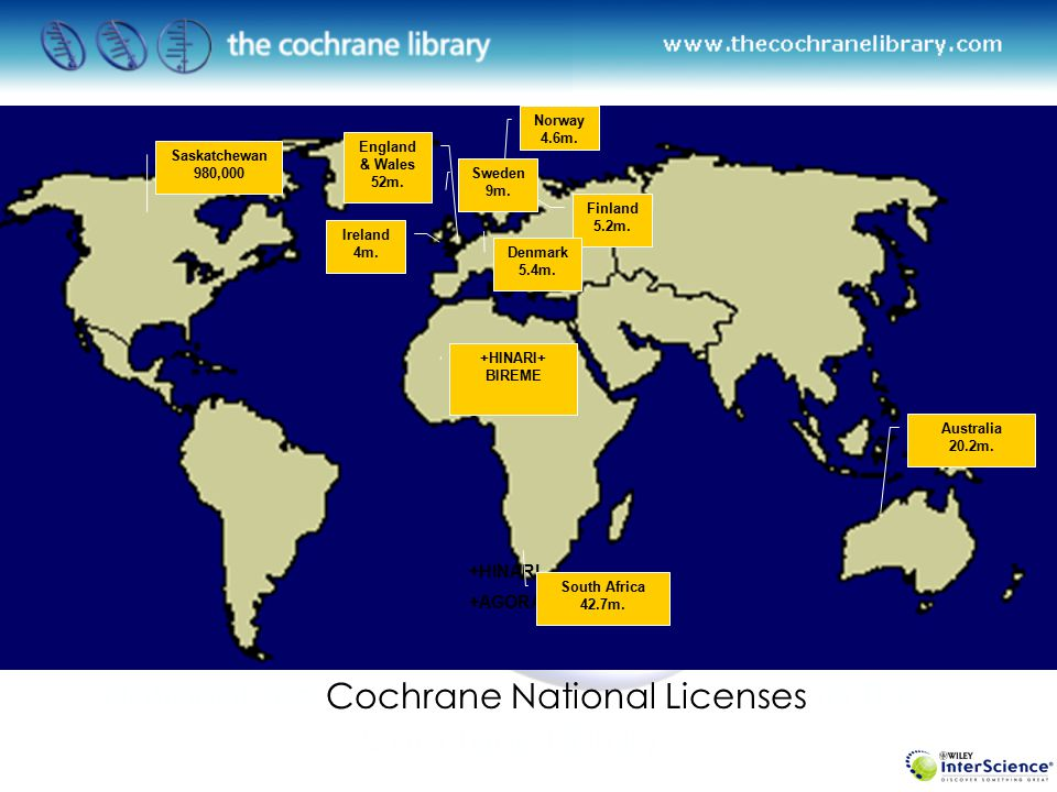 +HINARI +AGORA National Site Cochrane National Licenses to The Cochrane Library Total 189 m.