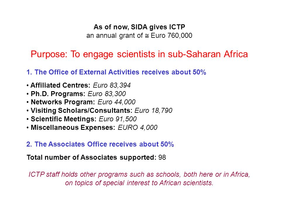 As of now, SIDA gives ICTP an annual grant of  Euro 760,000 Purpose: To engage scientists in sub-Saharan Africa 1.