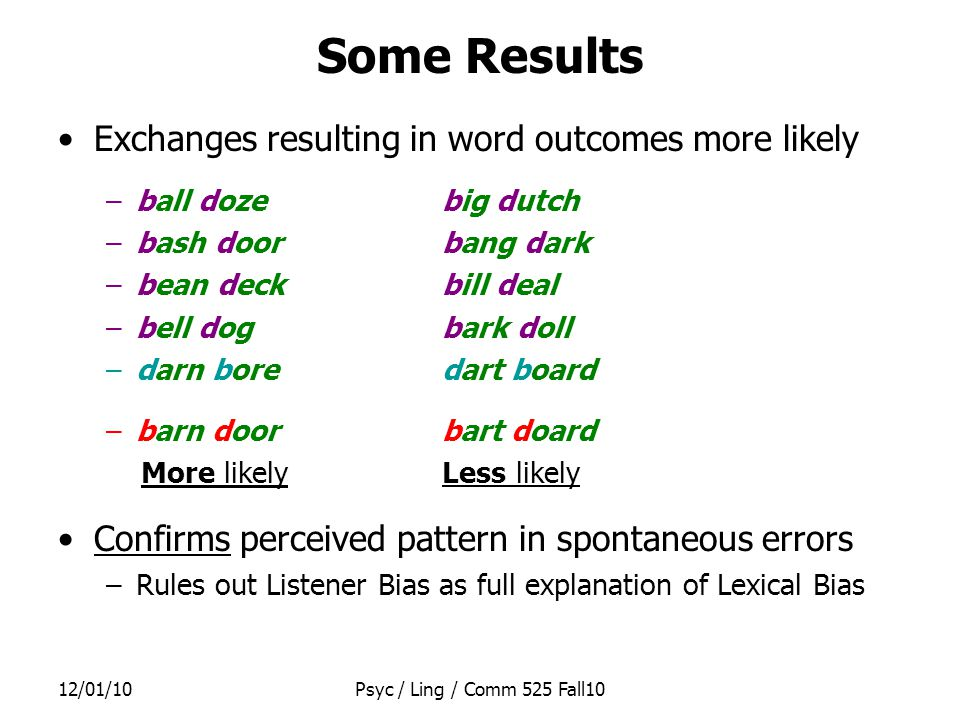 12/01/10Psyc / Ling / Comm 525 Fall10 Word Production Models All current theories of word production: –Explain why errors are usually similar in either sound or meaning to the intended target – Have 2 stages 1.