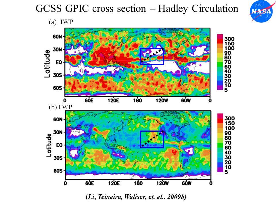 IWP LWP (a) (b) GCSS GPIC cross section – Hadley Circulation Teixeira, Waliser, et.