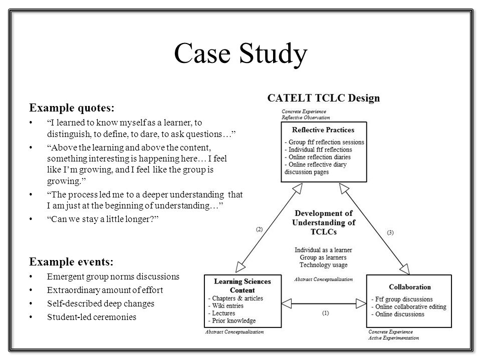 Case Study Example quotes: I learned to know myself as a learner, to distinguish, to define, to dare, to ask questions… Above the learning and above the content, something interesting is happening here… I feel like I'm growing, and I feel like the group is growing. The process led me to a deeper understanding that I am just at the beginning of understanding… Can we stay a little longer? Example events: Emergent group norms discussions Extraordinary amount of effort Self-described deep changes Student-led ceremonies