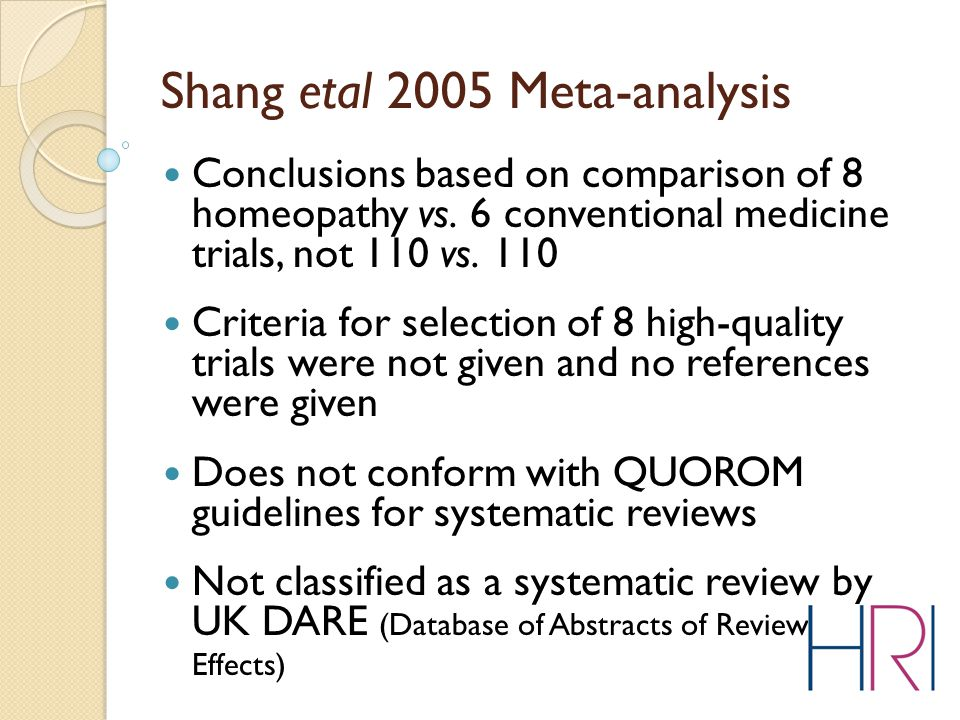 Conclusions based on comparison of 8 homeopathy vs.