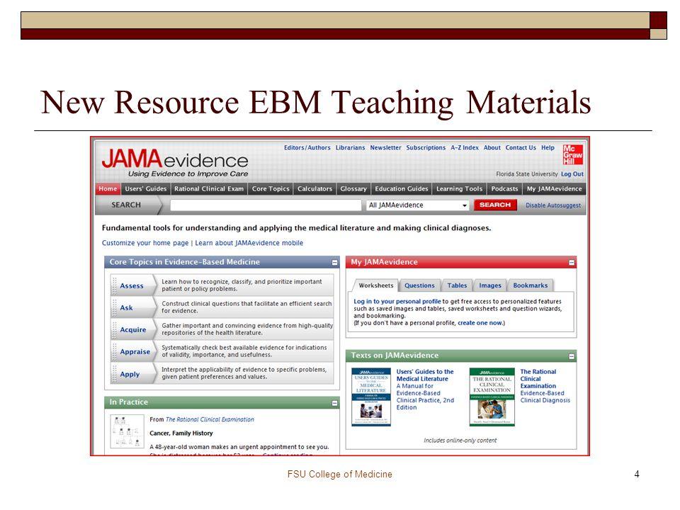 New Resource EBM Teaching Materials FSU College of Medicine4