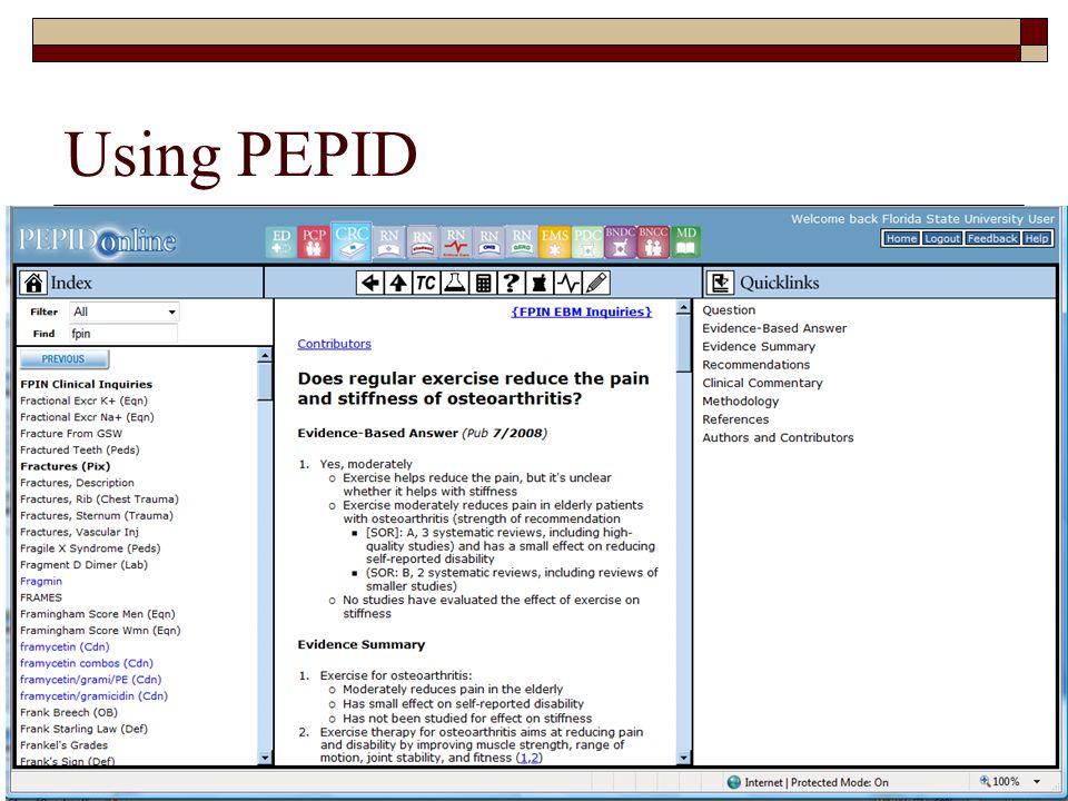 Using PEPID FSU College of Medicine53