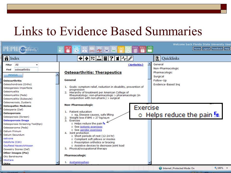 Links to Evidence Based Summaries FSU College of Medicine54
