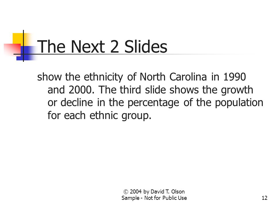 © 2004 by David T. Olson Sample - Not for Public Use12 The Next 2 Slides show the ethnicity of North Carolina in 1990 and 2000. The third slide shows
