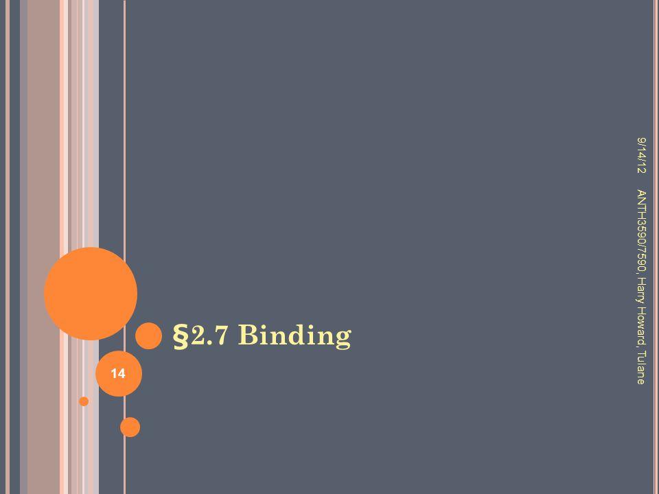 §2.7 Binding 9/14/12 ANTH3590/7590, Harry Howard, Tulane 14
