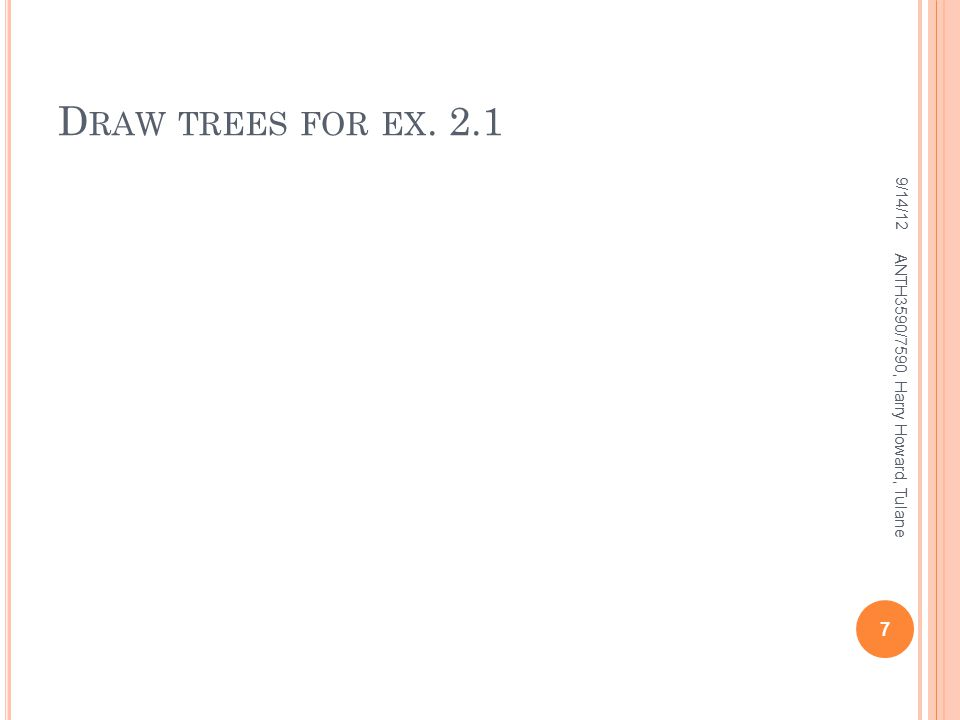 D RAW TREES FOR EX. 2.1 9/14/12 7 ANTH3590/7590, Harry Howard, Tulane