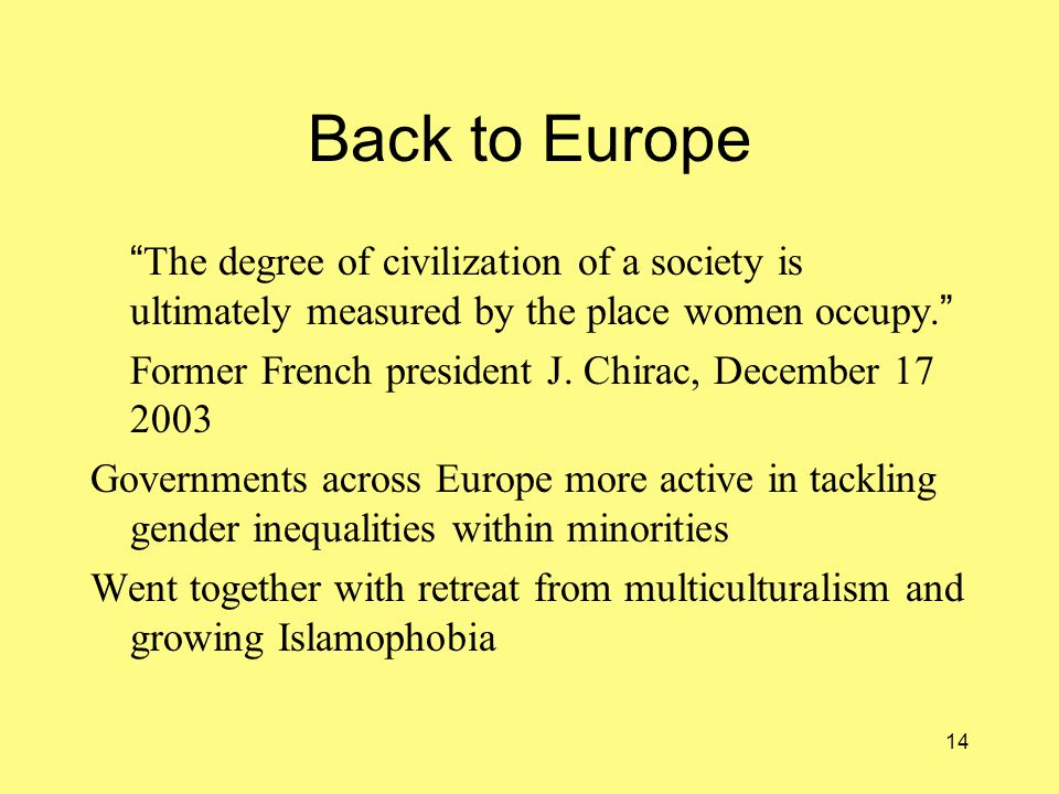 14 Back to Europe The degree of civilization of a society is ultimately measured by the place women occupy.