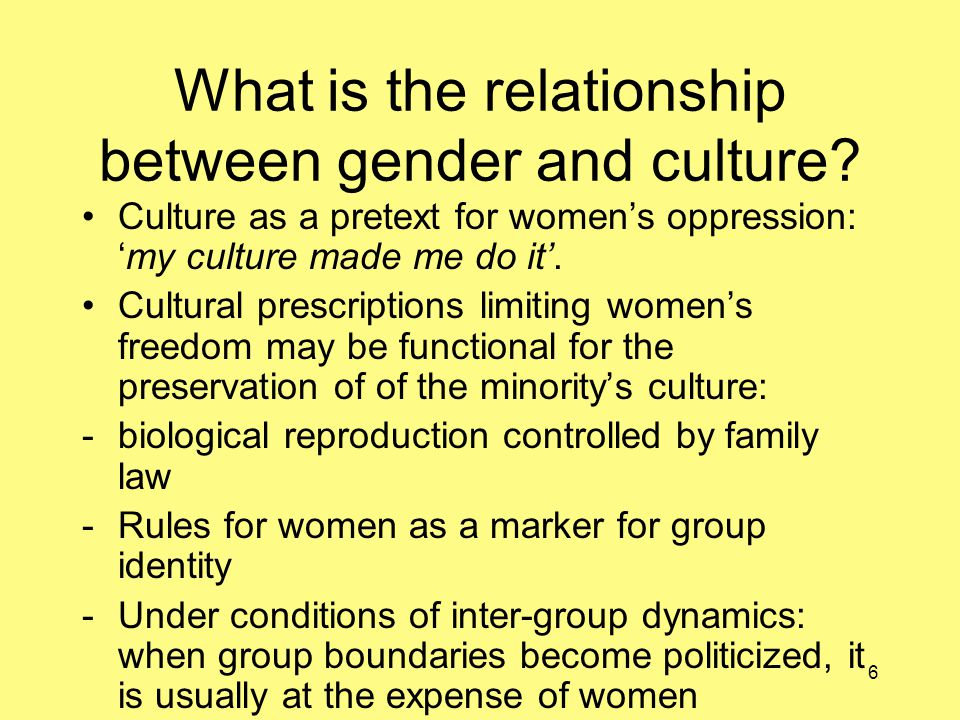 6 What is the relationship between gender and culture.