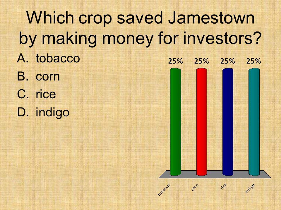Which crop saved Jamestown by making money for investors? A.tobacco B.corn C.rice D.indigo