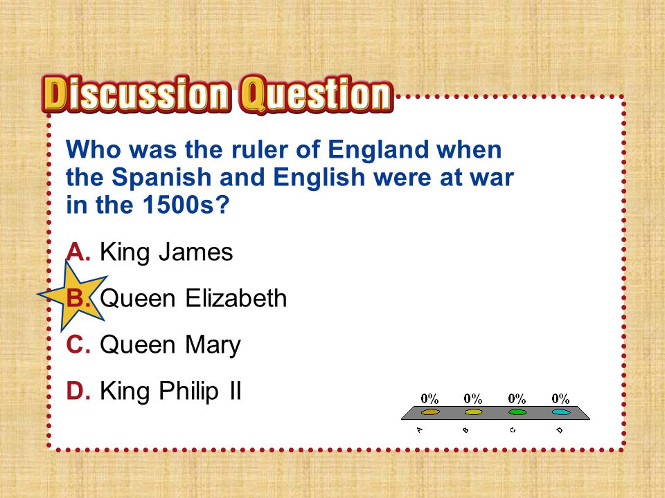 A.A B.B C.C D.D Section 1Section 1 Who was the ruler of England when the Spanish and English were at war in the 1500s.