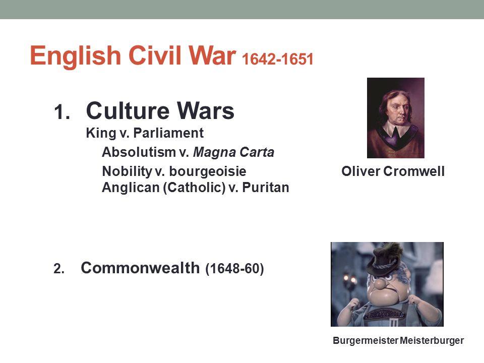 English Civil War 1642-1651 1. Culture Wars King v. Parliament Absolutism v. Magna Carta Nobility v. bourgeoisie Oliver Cromwell Anglican (Catholic) v