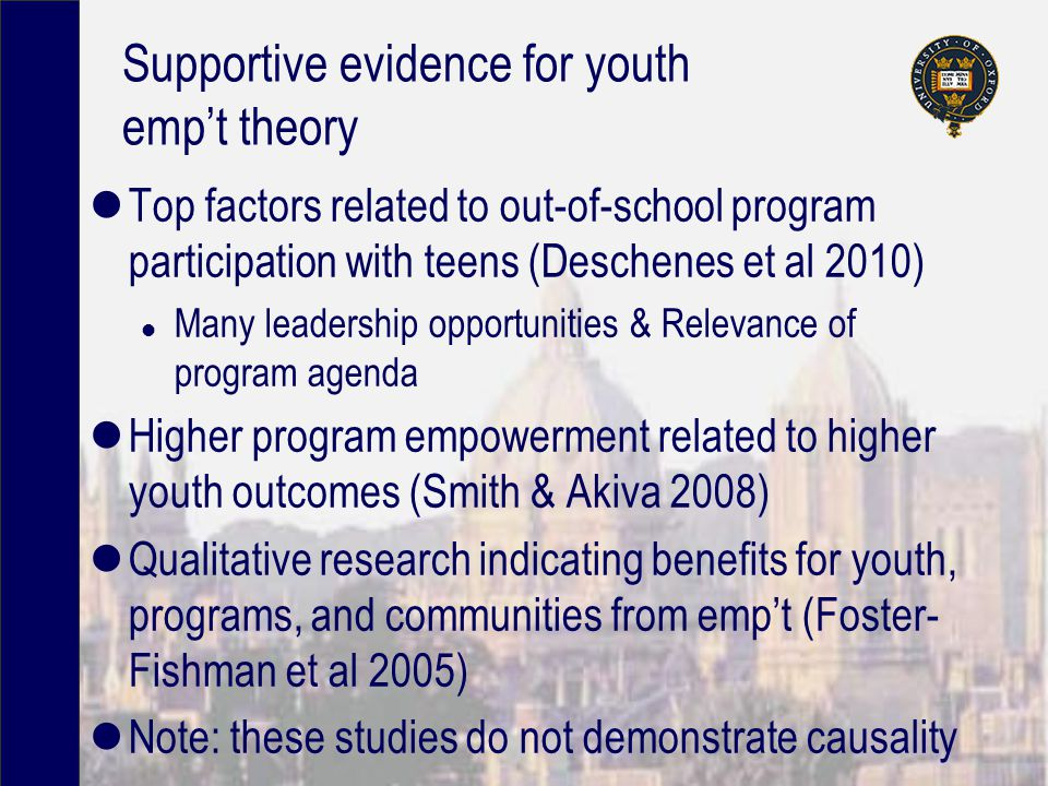 Supportive evidence for youth emp't theory Top factors related to out-of-school program participation with teens (Deschenes et al 2010) l Many leadership opportunities & Relevance of program agenda Higher program empowerment related to higher youth outcomes (Smith & Akiva 2008) Qualitative research indicating benefits for youth, programs, and communities from emp't (Foster- Fishman et al 2005) Note: these studies do not demonstrate causality
