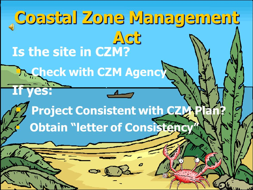 COASTAL ZONE MANAGEMENT ACT ● ● ANY ACTIVITY PROPOSED IN A COASTAL ZONE MUST BE CONSISTENT WITH AN APPROVED COASTAL ZONE MANAGEMENT PLAN.