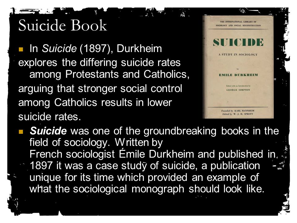 Suicide Book In Suicide (1897), Durkheim explores the differing suicide rates among Protestants and Catholics, arguing that stronger social control among Catholics results in lower suicide rates.