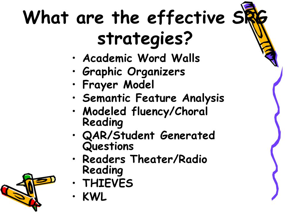 What are the effective SRG strategies.