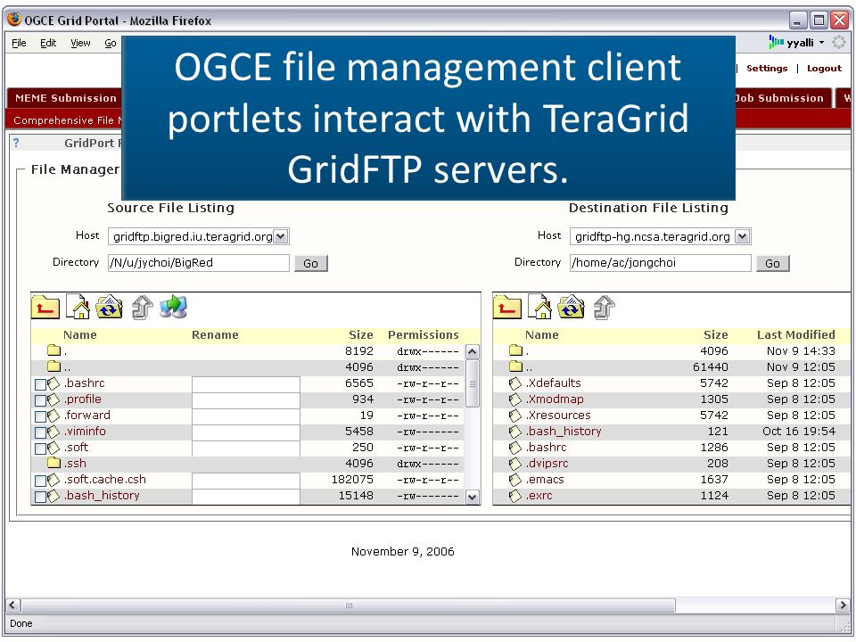 OGCE file management client portlets interact with TeraGrid GridFTP servers.