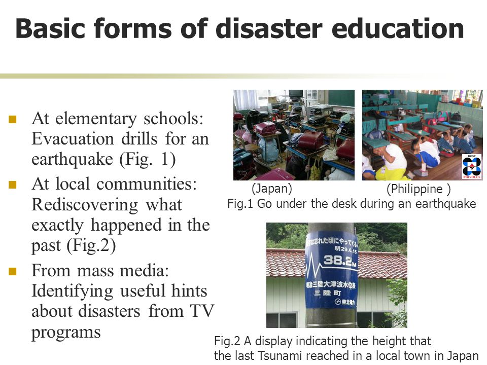 Basic forms of disaster education At elementary schools: Evacuation drills for an earthquake (Fig.