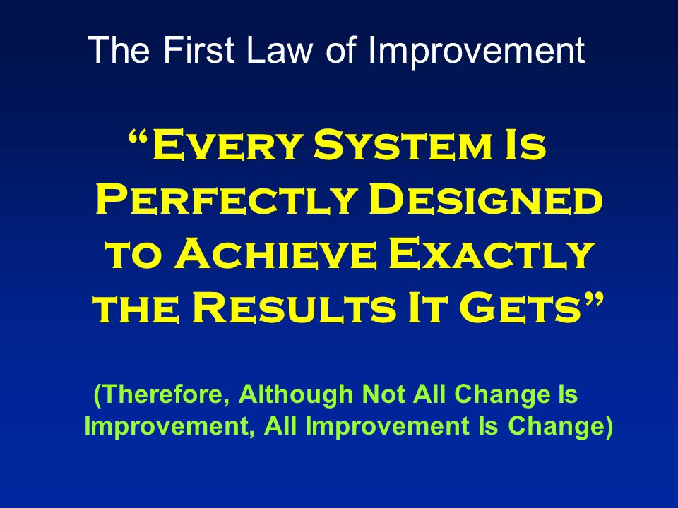 """The First Law of Improvement """"Every System Is Perfectly Designed to Achieve Exactly the Results It Gets"""" (Therefore, Although Not All Change Is Improv"""